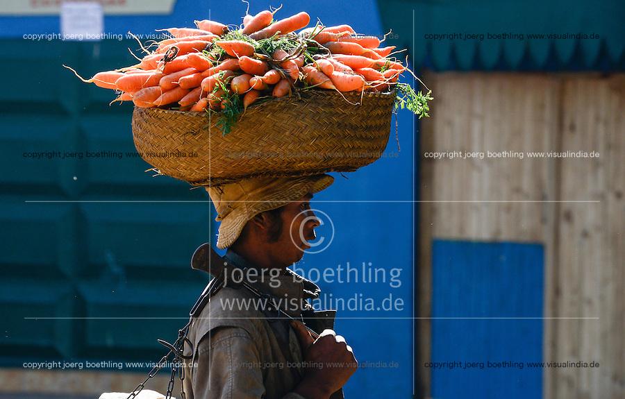MADAGASCAR, farmer carry carots to the market / MADAGASKAR, Bauer traegt Karotten zum Markt