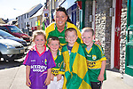 Leah Culloty, Shane Culloty, Lyn Culloty, Jamie Casey and Jadan Canty getting ready to watch the all Ireland Final, Kerry V Donegal, on Sunday at the Castle Bar