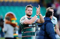 Ed Slater of Leicester Tigers acknowledges the crowd after the match. Aviva Premiership match, between Northampton Saints and Leicester Tigers on April 16, 2016 at Franklin's Gardens in Northampton, England. Photo by: Patrick Khachfe / JMP