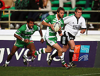 Manawatu fullback Casey Stone attacks with Lote Raikabula in support during the Air NZ Cup rugby match between Manawatu Turbos and Counties-Manukau Steelers at FMG Stadium, Palmerston North, New Zealand on Sunday, 2 August 2009. Photo: Dave Lintott / lintottphoto.co.nz