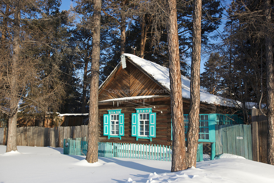 wooden and colored houses of Goriatchinsk on the east side of baikal lake