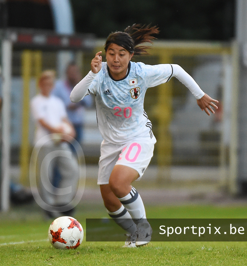 20170613 - LEUVEN ,  BELGIUM : Japanese Ayumi Oya pictured during the female soccer game between the Belgian Red Flames and Japan , a friendly game before the European Championship in The Netherlands 2017  , Tuesday 13 th Juin 2017 at Stadion Den Dreef  in Leuven , Belgium. PHOTO SPORTPIX.BE | DIRK VUYLSTEKE