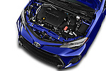 Car Stock 2018 Toyota Corolla XSE-AT 4 Door Sedan Engine  high angle detail view