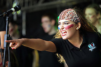 Pictured: A group of young people perform on stage Saturday 13 August 2016<br />Re: Grow Wild event at  Furnace to Flowers site in Ebbw Vale, Wales, UK
