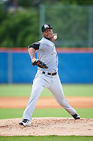 GCL Marlins starting pitcher Jarlin Garcia (40), oh rehab assignment, during a game against the GCL Mets on August 12, 2016 at St. Lucie Sports Complex in St. Lucie, Florida.  GCL Marlins defeated GCL Mets 8-1.  (Mike Janes/Four Seam Images)
