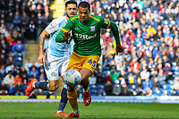 Preston North End's Lukas Nmecha gets away from Blackburn Rovers' Derrick Williams<br /> <br /> Photographer Alex Dodd/CameraSport<br /> <br /> The EFL Sky Bet Championship - Blackburn Rovers v Preston North End - Saturday 9th March 2019 - Ewood Park - Blackburn<br /> <br /> World Copyright © 2019 CameraSport. All rights reserved. 43 Linden Ave. Countesthorpe. Leicester. England. LE8 5PG - Tel: +44 (0) 116 277 4147 - admin@camerasport.com - www.camerasport.com