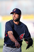 Casey Blake of the Cleveland Indians during batting practice before a game from the 2007 season at Angel Stadium in Anaheim, California. (Larry Goren/Four Seam Images)