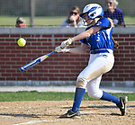 Freeburg batter Elly Fischer hits a double in the third inning scoring two runs. Breese Central High School played at Freeburg High School on Tuesday May 1, 2018. Tim Vizer | Special to STLhighschoolsports.com