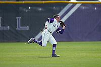 High Point Panthers left fielder Sam Zayicek (28) makes a running catch during the game against the Campbell Camels at Williard Stadium on March 16, 2019 in  Winston-Salem, North Carolina. The Camels defeated the Panthers 13-8. (Brian Westerholt/Four Seam Images)