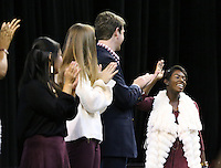 Maroon Madness 2016 - Introduction of Homecoming Court: Shawanda F. Brooks, homecoming queen.<br />  (photo by Kelly Price / &copy; Mississippi State University Athletics)