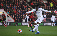 29th February 2020; Vitality Stadium, Bournemouth, Dorset, England; English Premier League Football, Bournemouth Athletic versus Chelsea; Michy Batshuayi of Chelsea shoots at goal but the shot is saved by Aaron Ramsdale of Bournemouth