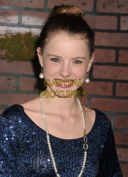 "Laura Wiggins.arriving at the Los Angeles premiere of ""Beautiful Creatures"" at TCL Chinese Theatre in Hollywood, California, USA, .February 6th, 2013..portrait headshot hair up bun smiling blue sequined sequin  necklace pearl .CAP/ROT/TM.©Tony Michaels/Roth Stock/Capital Pictures"