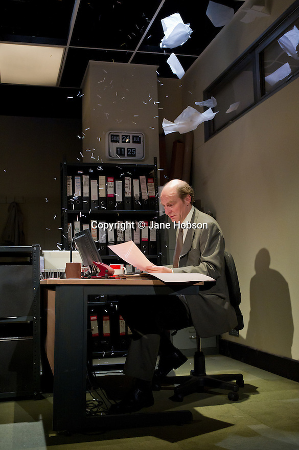 "London, UK. 17/07/2011.  ""Mongrel Island"", by Ed Harris, and presented at the Soho Theatre, offers a fresh, cynical and offbeat perspective on how the workplace can strip away our humanity. Simon Kunz as Only Joe. Photo credit should read Jane Hobson"