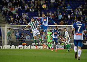 30th October 2017, Cornella-El Prat, Cornella de Llobregat, Barcelona, Spain; La Liga football, Espanyol versus Real Betis; David Lopez of Espanyol and Javi Garcia of Betis jumping for a header