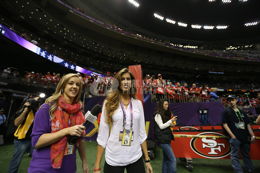 Feb 3, 2013; New Orleans, LA, USA; Inside Edition personalities Megan Cournoyer (left) and Katherine Webb arrive for Super Bowl XLVII between the San Francisco 49ers and the Baltimore Ravens at the Mercedes-Benz Superdome. Mandatory Credit: Mark J. Rebilas-