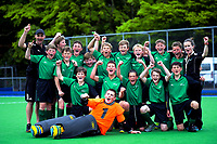 South Canterbury celebrates winning the 2019 Hatch Cup Under-13 Boys' Hockey Tournament semifinal between Canterbury and South Canterbury at Fitzherbert Park Twin Turfs in Palmerston North, New Zealand on Friday, 11 October 2019. Photo: Dave Lintott / lintottphoto.co.nz