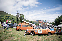 Up the Col de Peyresourde this beautiful old Molteni teamcar awaits the peloton (with original Eddy Merckx bikes on the roof-rack)<br /> <br /> Stage 12: Toulouse to Bagnères-de-Bigorre (209km)<br /> 106th Tour de France 2019 (2.UWT)<br /> <br /> ©kramon