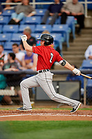 Erie SeaWolves center fielder Troy Montgomery (8) follows through on a swing during a game against the Binghamton Rumble Ponies on May 14, 2018 at NYSEG Stadium in Binghamton, New York.  Binghamton defeated Erie 6-5.  (Mike Janes/Four Seam Images)