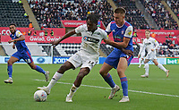 Swansea City's Joel Asoro battles with Ipswich Town's Jonas Knudsen<br /> <br /> Photographer Ian Cook - CameraSport<br /> <br /> The EFL Sky Bet Championship - Swansea City v Ipswich Town - Saturday 6th October 2018 - Liberty Stadium - Swansea<br /> <br /> World Copyright &copy; 2018 CameraSport. All rights reserved. 43 Linden Ave. Countesthorpe. Leicester. England. LE8 5PG - Tel: +44 (0) 116 277 4147 - admin@camerasport.com - www.camerasport.com