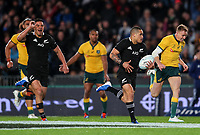 Aaron Smith heads for the tryline during the Bledisloe Cup Rugby match between the New Zealand All Blacks and Australia Wallabies at Eden Park in Auckland, New Zealand on Saturday, 17 August 2019. Photo: Simon Watts / lintottphoto.co.nz