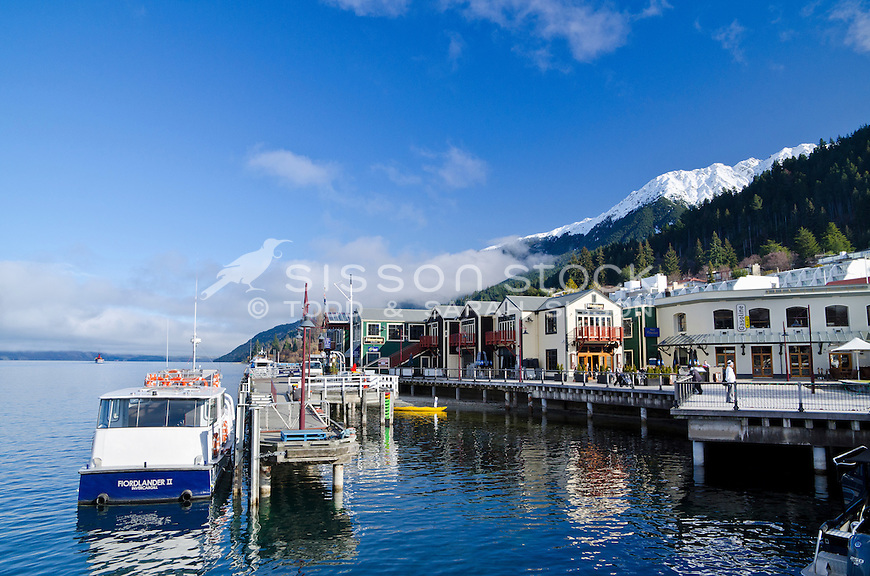 Steamer Wharf on a sunny Winters day, Lake Wakatipu, Queenstown, South Island, New Zealand