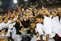 29 September 2007: Stanford Cardinal director of athletics Bob Bowlsby (center) and athletes are presented the University's 13th Director's Cup during Stanford's 41-3 loss against the Arizona State Sun Devils at Stanford Stadium in Stanford, CA.