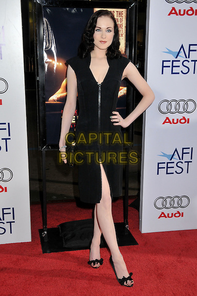 "EVAN RACHEL WOOD.AFI Fest 2008 Screening of ""The Wrestler"" at Grauman's Chinese Theatre, Hollywood, California, USA..November 6th, 2008.full length black dress zip zipper hand on hip slit split clutch bag .CAP/ADM/BP.©Byron Purvis/AdMedia/Capital Pictures."
