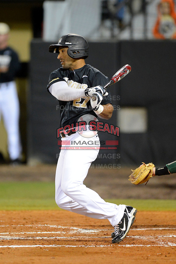 Central Florida Knights outfielder Jeramy Matos #27 during a game against the Siena Saints at Jay Bergman Field on February 15, 2013 in Orlando, Florida.  UCF defeated Siena 7-1.  (Mike Janes/Four Seam Images)