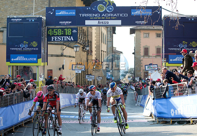 Greg Van Avermaet (BEL) BMC Racing Team outsprints Peter Sagan (SVK) Tinkoff Saxo and Zdenek Stybar (CZE) Etixx-Quick-Step to win Stage 3 of the 2015 Tirreno-Adriatico cycle race running 203km from Càscina to Arezzo, Italy. 13th March 2015. Photo: ANSA/Claudio Peri/www.newsfile.ie