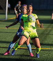 Seattle, WA - Saturday July 23, 2016: Samantha Witteman, Merritt Mathias during a regular season National Women's Soccer League (NWSL) match between the Seattle Reign FC and the Orlando Pride at Memorial Stadium.