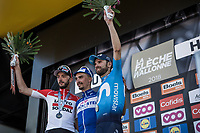 Podium:<br /> <br /> 1st place: Julien Alaphilippe (FRA/Quick Step Floors)<br /> 2nd place: Alejandro Valverde (ESP/Movistar)<br /> 3th place: Jelle Vanendert (BEL/Lotto Soudal)<br /> <br /> <br /> <br /> 82nd La Fl&egrave;che Wallonne 2018<br /> 1 Day Race: Seraing - Huy (198,5km)