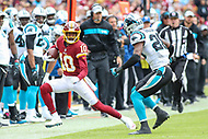 Landover, MD - October 14, 2018: Washington Redskins wide receiver Paul Richardson (10) is forced out of bounds during the  game between Carolina Panthers and Washington Redskins at FedEx Field in Landover, MD.   (Photo by Elliott Brown/Media Images International)