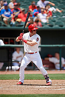 Memphis Redbirds third baseman Patrick Wisdom (5) at bat during a game against the Iowa Cubs on May 29, 2017 at AutoZone Park in Memphis, Tennessee.  Memphis defeated Iowa 6-5.  (Mike Janes/Four Seam Images)