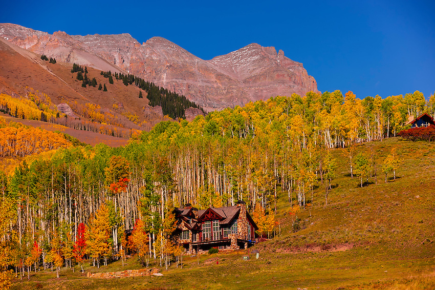 Homes near Wald Pond, San Juan Mountains, near Telluride, Colorado USA.