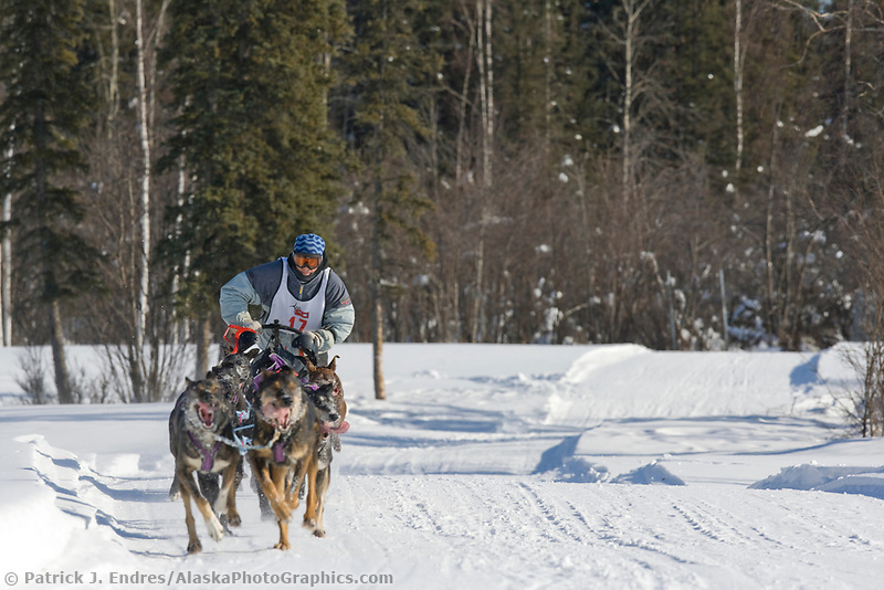 Musher Aaron Campbell, 2007 Open North American Championship sled dog race (the world's premiere sled dog sprint race) is held annually in Fairbanks, Alaska.