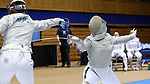DURHAM, NC - FEBRUARY 25: Notre Dame's Francesca Russo (right) and UNC's Diana Philpot (left) during their Women's Saber semifinal match. The Atlantic Coast Conference Fencing Championships were held on February, 25, 2017, at Cameron Indoor Stadium in Durham, NC.