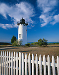 Martha's Vineyard, MA<br /> East Chop Lighthouse (1877) with white picket fence on Telegraph Hill at the east entrance to Vineyard Haven Harbor