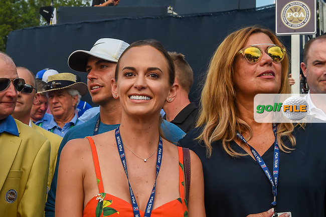 Brooks Koepka's (USA) fiance, Jena Sims waits patiently in the chute near the green on 18 during 4th round of the 100th PGA Championship at Bellerive Country Club, St. Louis, Missouri. 8/12/2018.<br /> Picture: Golffile | Ken Murray<br /> <br /> All photo usage must carry mandatory copyright credit (© Golffile | Ken Murray)