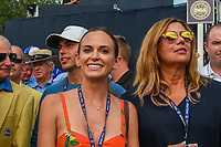 Brooks Koepka's (USA) fiance, Jena Sims waits patiently in the chute near the green on 18 during 4th round of the 100th PGA Championship at Bellerive Country Club, St. Louis, Missouri. 8/12/2018.<br /> Picture: Golffile | Ken Murray<br /> <br /> All photo usage must carry mandatory copyright credit (&copy; Golffile | Ken Murray)