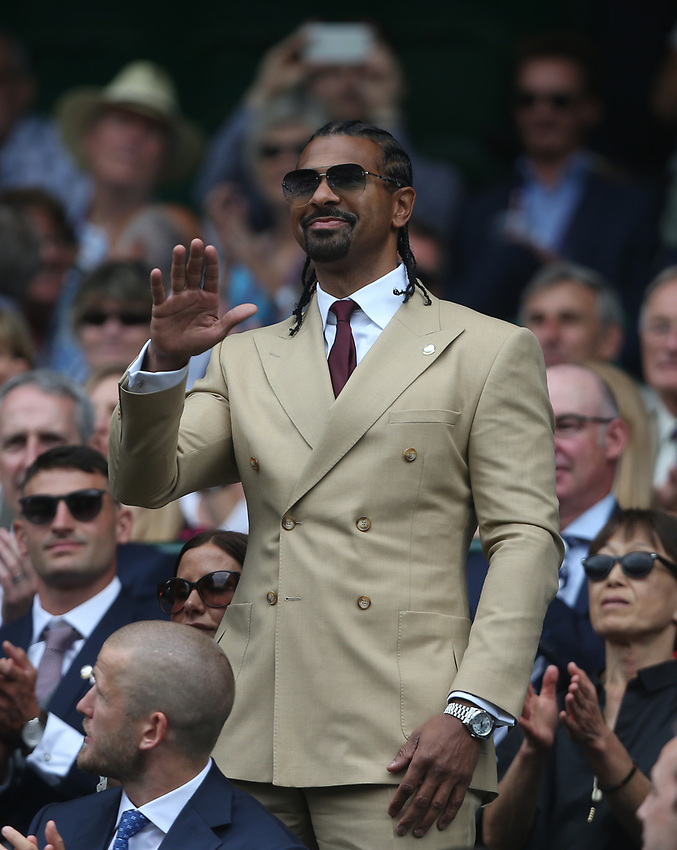 Boxer David Haye is introduced to the Centre Court crowd<br /> <br /> Photographer Rob Newell/CameraSport<br /> <br /> Wimbledon Lawn Tennis Championships - Day 6 - Saturday 6th July 2019 -  All England Lawn Tennis and Croquet Club - Wimbledon - London - England<br /> <br /> World Copyright © 2019 CameraSport. All rights reserved. 43 Linden Ave. Countesthorpe. Leicester. England. LE8 5PG - Tel: +44 (0) 116 277 4147 - admin@camerasport.com - www.camerasport.com