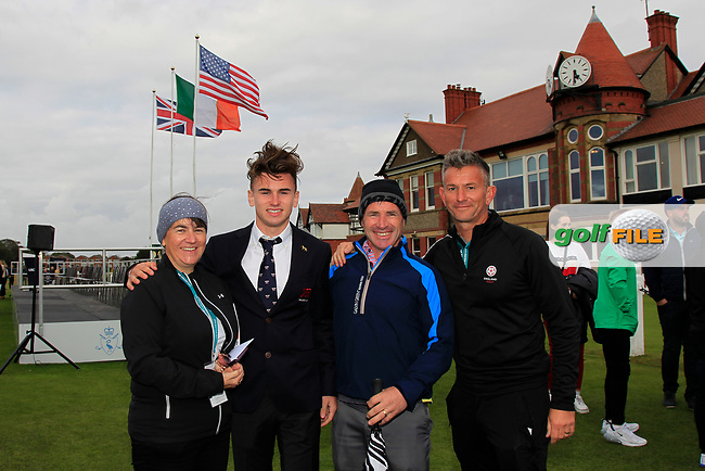 Conor Gough (GB&I) with family during the Official Opening of the Walker Cup, Royal Liverpool Golf CLub, Hoylake, Cheshire, England. 06/09/2019.<br /> Picture Thos Caffrey / Golffile.ie<br /> <br /> All photo usage must carry mandatory copyright credit (© Golffile | Thos Caffrey)