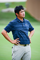 John Huh (USA) pauses on the 18th green after barely missing a birdie putt during round 1 of the Valero Texas Open, AT&amp;T Oaks Course, TPC San Antonio, San Antonio, Texas, USA. 4/20/2017.<br /> Picture: Golffile | Ken Murray<br /> <br /> <br /> All photo usage must carry mandatory copyright credit (&copy; Golffile | Ken Murray)