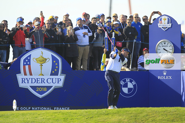 Bubba Watson (Team USA) on the 10th tee during Saturday Foursomes at the Ryder Cup, Le Golf National, Ile-de-France, France. 29/09/2018.<br /> Picture Thos Caffrey / Golffile.ie<br /> <br /> All photo usage must carry mandatory copyright credit (© Golffile | Thos Caffrey)