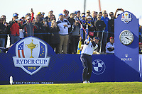 Bubba Watson (Team USA) on the 10th tee during Saturday Foursomes at the Ryder Cup, Le Golf National, Ile-de-France, France. 29/09/2018.<br /> Picture Thos Caffrey / Golffile.ie<br /> <br /> All photo usage must carry mandatory copyright credit (&copy; Golffile | Thos Caffrey)