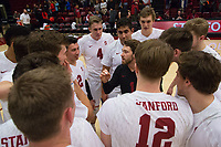 STANFORD, CA - January 5, 2019: Kyle Dagostino, Eric Beatty, Justin Lui, Mason Tufuga, Stephen Moye, Jordan Ewert at Maples Pavilion. The Stanford Cardinal defeated UC Santa Cruz 25-11, 25-17, 25-15.
