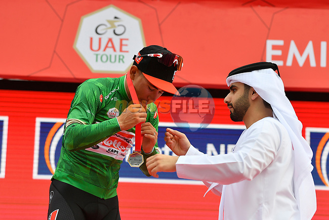Caleb Ewan (AUS) Lotto-Soudal retains the Green Jersey at the end of Stage 4 the Emirates NBD Stage of the UAE Tour 2020 running 173km from Dubai Zabeel Park to Dubai City Walk, Dubai. 26th February 2020.<br /> Picture: LaPresse/Fabio Ferrari   Cyclefile<br /> <br /> All photos usage must carry mandatory copyright credit (© Cyclefile   LaPresse/Fabio Ferrari)