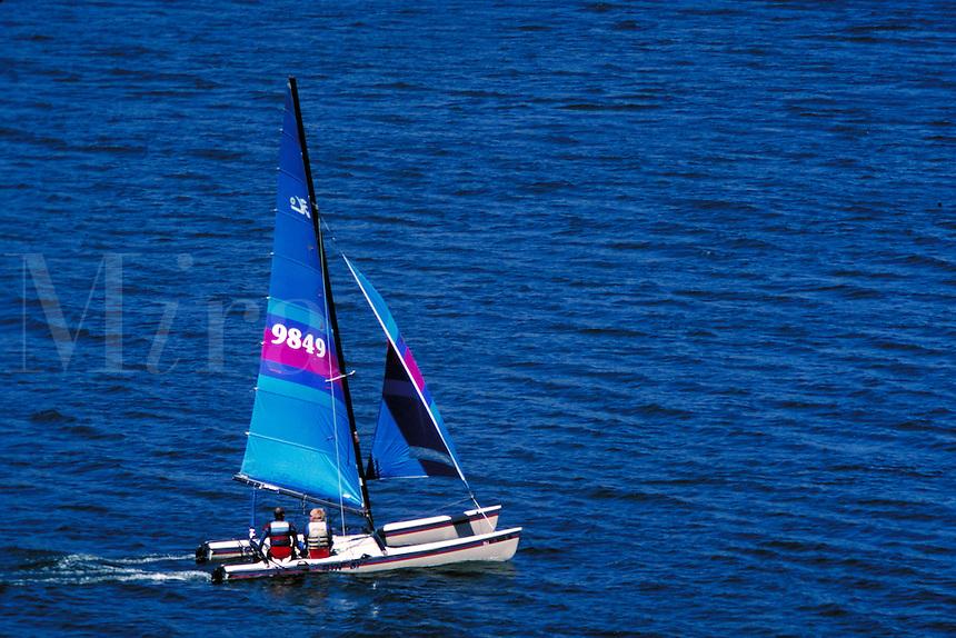 Hobie 18 catamaran sails placidly across a blue lake. boats, sailing. Utah, Deer Creek Reservoir.