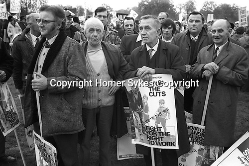 Fight For the Right to Work, Stop the Cuts march November 1976. Hyde park rally. London 1970s. UK...