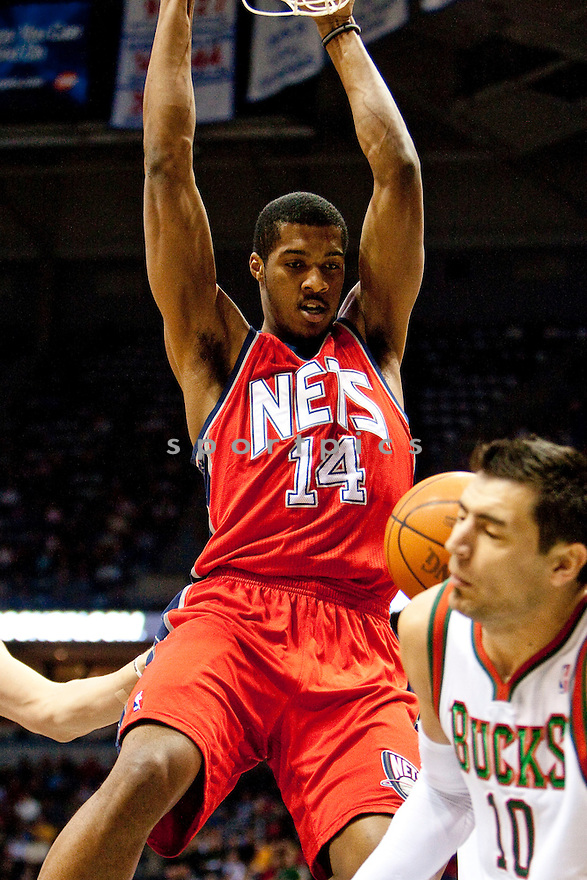 DERRICK FAVORS, of the New York Nets in actions during the Nets game against the Nets at Bradley Center on March 18, 2011.  The Nets won the game beating the New York Nets 110-95.