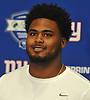 R.J. McIntosh speaks with the media during the second day of New York Giants Rookie Minicamp held at Quest Diagnostics Training Center in East Rutherford, NJ on Saturday, May 12, 2018.